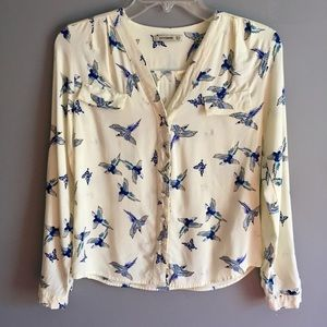 Tops - Ivory Button Down Blouse with Blue Bird Print